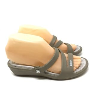 Crocs Women's Size 6 Taupe Low Wedge Sandals